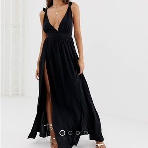 ASOS beach maxi with plunge neck and open back